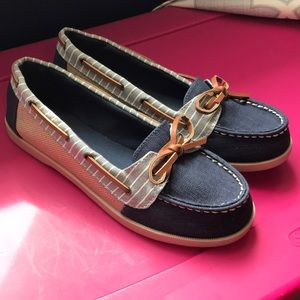 Blue Striped Boat Shoes Like New!